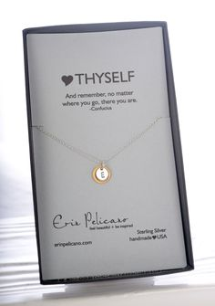 """Personalized Jewelry, initial necklace. This handmade Love Thyself Necklace was worn on Season 3 Episode 1 of Hallmark's Cedar Cove by actress Sarah Smyth as Justine. 18"""" chain with 1 initial."""