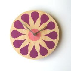 """Items similar to Objectify """"Bloom"""" Wall Clock on Etsy Pine Plywood, Diy Clock, Clock Ideas, Modern Clock, House Inside, Telling Time, Wooden Wall Art, Handicraft, Wood Projects"""
