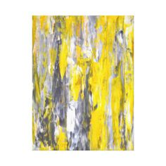 'Nailed It' Grey and Yellow Abstract Art Canvas Print