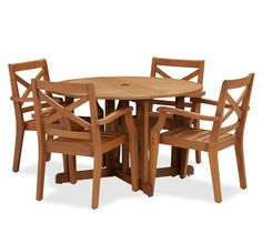 Hampstead Teak Round Drop-Leaf Dining Table & Chair Set - Honey
