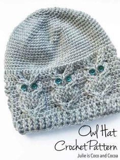 "Owl Hat Crochet Pattern Homesteading - The Homestead Survival .Com ""Please Share This Pin"" #CrochetBeanie"