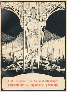 Cover design by Ephraim Moses Lilien for a commemorative publication celebrating the 300th anniversary of the German publishing house F. A. Lattmann in 1904.