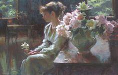 Daniel F. Gerhartz 1965   American Figurative painter   Ladies with flowers
