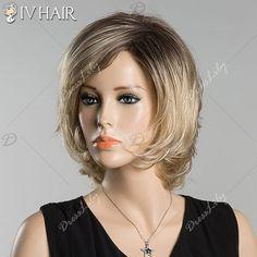 Short Skilful Straight Side Bang Ombre Siv Human Hair Wig