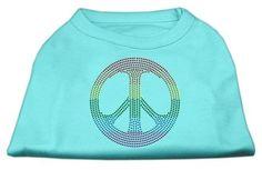 Rhinestone Rainbow Peace Sign Shirts Aqua XXL (18)