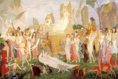 Ivory, Apes And Peacocks (The Queen Of Sheba)~ John Duncan (Scottish 1866-1945)