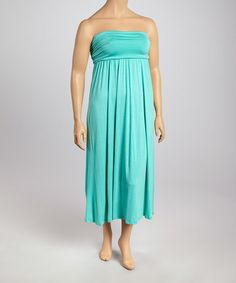 aeff2604b3 Another great find on #zulily! Aqua Strapless Dress - Plus by Poliana Plus #