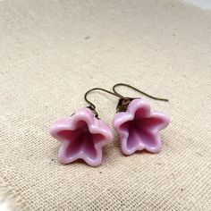 Pretty Pastel pink flower earrings, with just a hint of lavender!