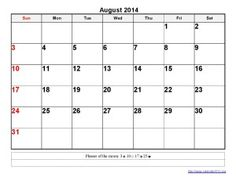 Printable Calendar 2014 August Templates
