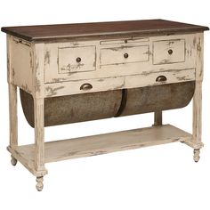 Farmhouse Possum Belly Kitchen Island ($1,995) ❤ liked on Polyvore featuring home, furniture, storage & shelves, sideboards, country buffet, country style furniture, euro furniture, country kitchen islands and drawer furniture
