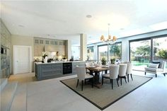 large kitchen diner - love the colours (not units just generally) and spacev Open Plan Kitchen Dining Living, Living Room Kitchen, Home Decor Kitchen, Kitchen Interior, Home Kitchens, Kitchen Design, Interior Livingroom, Modern Kitchens, Kitchen Layout