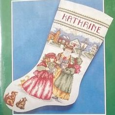 It's time to start your projects for Christmas - Victorian Carolers Cross Stitch Christmas Stocking Kit Bernat 1992 SEALED   www.baltimoreandmore.com