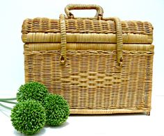 Wicker Vintage Picnic Basket  Sewing Basket by EitherOrFinds, $23.00