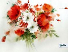 by Mohammad Yazdchi Watercolor Art Landscape, Watercolor Art Lessons, Watercolor Art Paintings, Watercolor Projects, Watercolor Flowers, Impressionist Paintings, Watercolours, Botanical Art, Flower Art