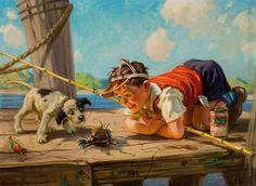 Brincando com o caranguejo. Óleo sobre lona. Henry Hintermeister (Nova York, NY, USA, 1897 - 1972, USA).