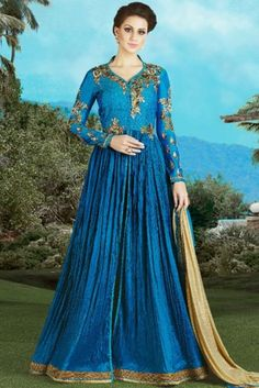 Peacock Blue Silk Anarkali Suit With Zardosi Work. Robe Anarkali, Costumes Anarkali, Silk Anarkali Suits, Salwar Dress, Salwar Suits, Lehenga, Sarees, Long Gowns Online, Cheap Prom Dresses Online
