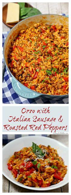 For easy weeknight dinners, make this savory Orzo with Italian Sausage and Roasted Red Peppers from CookingInStilettos.com.  Dinner will be on the table in minutes with this easy one pan recipe! | @CookInStilettos