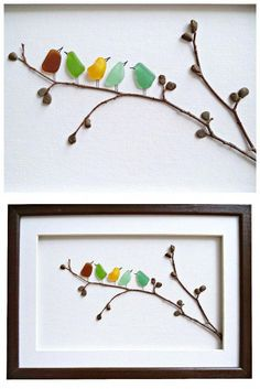 Sea glass birds on twig tree branch with pebble leaves framed art. - Crafty Ideas - Sea glass birds on twig tree branch with pebble leaves framed art. Sea Glass Crafts, Sea Glass Art, Seashell Crafts, Stained Glass Art, Fused Glass, Sea Glass Decor, Glass Beach, Stone Crafts, Rock Crafts