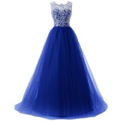 Dressystar Lace Prom Dresses Straps Bridesmaid Ball Gowns with Buttons... ❤ liked on Polyvore featuring dresses, gowns, lace dress, blue prom gown, prom gowns, lace evening gowns and blue evening gown