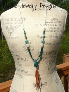 Leather tassel with  turquoise stone and sterling silver necklace. Long boho jewelry.