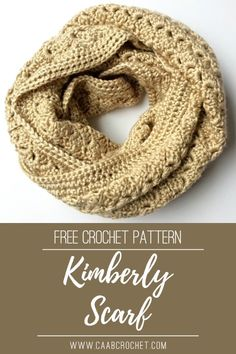 The Kimberly Scarf has an absolutely beautiful texture and it is created with just a simple repeat. You will love working this up and will be a piece you treasure forever! Free crochet pattern from Cute As A Button Crochet & Craft! #caabcrochet #freecrochetpattern #crochetscarf #infinityscarf Shawl Patterns, Crochet Patterns, Knitting Patterns, Crochet Infinity Scarf Free Pattern, Crochet Scarves, Crochet Cowls, Hand Crochet, Crochet Buttons, Crochet Accessories