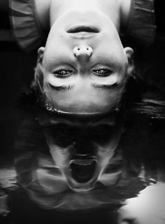 So freaky / creepy. Black and white photography and flipped perspectives done well o. Art Noir, Reflection Art, Arte Obscura, My Demons, Inner Demons, Dark Photography, Creepy Photography, Horror Photography, Creative Photography