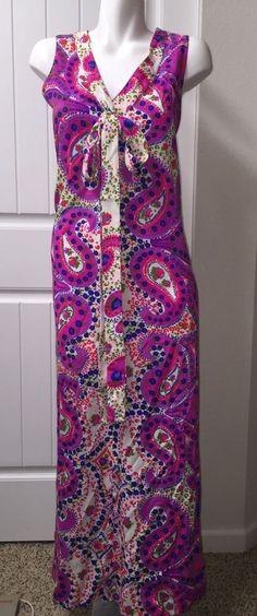 Vtg Barkcloth Dress Paisely Pink Purple Neon Cotton Floral V Neck #Maxi #Party