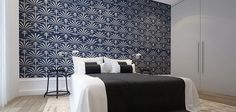 Deco Hommage Wallpaper by Robin Sprong makes for a dramatic bedroom @agentsprong