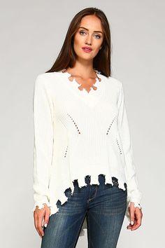 Shredded High Low Hem Sweater for Women in White SW30423-WHITE