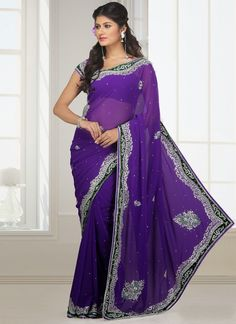 Byzantium Purple Faux Georgette Embroidered Party and Festival Saree Bollywood Designer Sarees, Indian Designer Sarees, Latest Designer Sarees, Indian Sarees Online, Bollywood Fashion, Designer Sarees Collection, Saree Collection, Indian Dresses, Indian Outfits