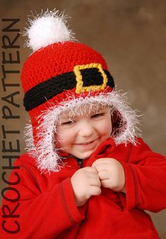 CROCHET HAT PATTERN Santa Ski Beanie Adults by PlayinHookyDesigns, $4.50