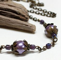 Purple Pearl Glass Bead Necklace  CLEARANCE by carolinascreations, $10.00