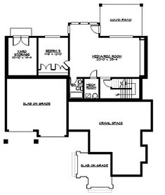 W23346JD basement - I like the covered patio and the storage space accessible from the outside. The bedroom would make a nice music studio. I'm picturing a kitchenette and projection screen in the rec room.