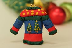 Clay Christmas Decorations, Christmas Tree Design, Christmas Ornaments, Ugly Christmas Jumpers, Christmas Tree Ugly Sweater, Polymer Clay Christmas, Miniature Christmas, Novelty Christmas Gifts, Handmade Ornaments