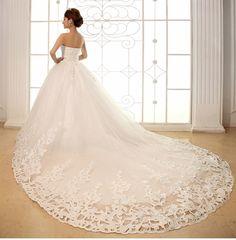 2015 tubo de moda vestido de noiva doce princesa sopro saia vestido de casamento de trem vestido de noiva Freeshipping em Vestidos de noiva de Casamentos e Eventos no AliExpress.com | Alibaba Group