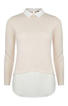 Primark - Blush Curved Hem 2 In 1 Collar Blouse