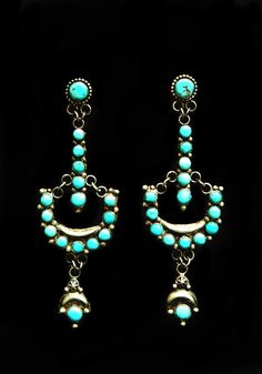 Turquoise Chandelier Earrings - Conquest Style by Carlos Diaz circa 1990. This is a retro re-creation of antique style earring by and American Jeweler, a beautiful job and you can date this pair of earring by the blue/green Turquoise with inclusions in the stones.