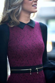 Street style strict collar black and purple lace dress Modest Outfits, Modest Fashion, Cute Outfits, Purple And Black Dress, Purple Lace, Navy Blue, Nyc Fashion, Fashion Trends, Ootd Fashion