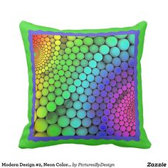 Modern Design #2, Neon Colors on Lime Green Throw Pillow