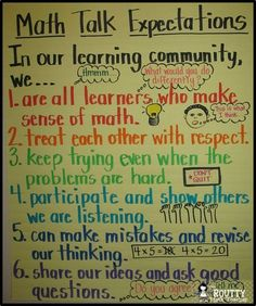 Here's a nice anchor chart on math talk expectations.:
