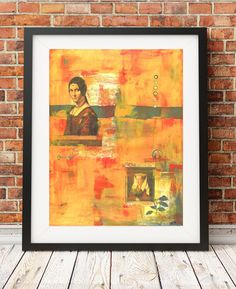 Print of Original acrylic collage painting entitled Listen 8x10  11 x 14 or 16 x 20 orange yellow red industiral rustic print