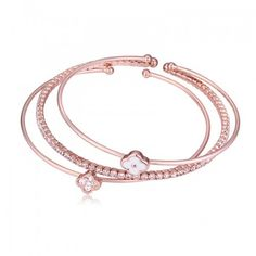New arrival 3 pcs genuine austrian crystal famous brand rose gold bangle for women famous clover design