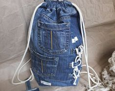 Items similar to Blue denim backpack on Etsy Grunge Backpack, Hipster Backpack, Jean Backpack, Denim Fashion, Star Fashion, Fashion Bags, Denim Tote Bags, Stylish Backpacks, Recycled Denim