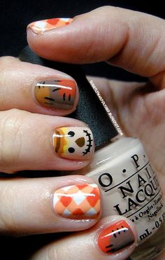 Slightly nail polished: autumn scarecrow .- Slightly nail polished: autumn scarecrow . Orange Nail Designs, Short Nail Designs, Fall Nail Designs, Art Designs, Crazy Nail Designs, Design Ideas, Fall Nail Art, Autumn Nails, Winter Nails