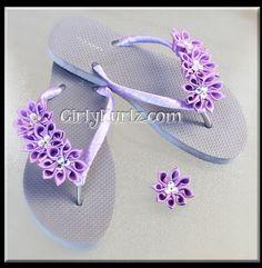 Purple kanzashi flower flip flops thongs.