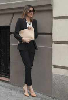 Love the nude shoes with the black suit.  Find more office-chic style inspo at www.fashionaddict.com.au