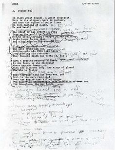 "Original manuscript sheet, notes and all, of the poem ""Stings"" by #SylviaPlath"