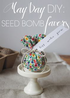 fabric-wrapped seed bomb favors