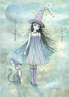 Witch Tabby Cats Autumn Fine Art Print by by MollyHarrisonArt