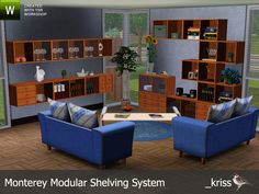 Kriss' Monterey Modular Shelving System Sims 3 Living Room, Living Room Sets, Around The Sims 4, Family Dining Rooms, Modular Shelving, Sims House, Outdoor Furniture Sets, Outdoor Decor, Entryway